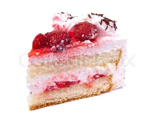 Piece of cake isolated on white background