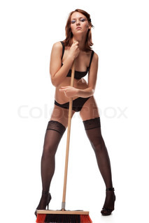 The sexy cleaner, isolated  on a white background