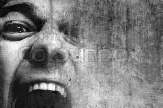 grungy black and white picture of a shouting man