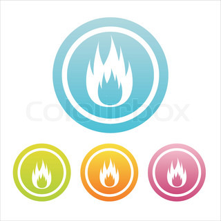 set of 4 colorful fire signs