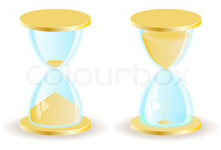 Two vector hourglass or sand clock icons. EPS8