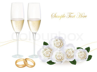 Wedding rings, roses bouquet and champagne. Vector illustration.