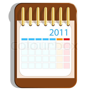 Calendar icon on the wooden base. Vector. EPS8