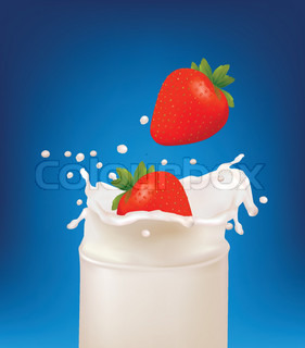 Red strawberry fruits falling into the milky splash in a glass. Vector illustration