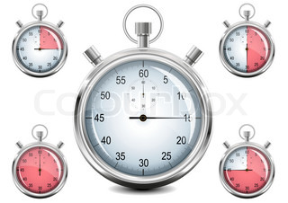 Set of Chrome analog Stopwatch. Vector illustration. EPS8