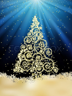New Year template with stars, snowflakes and Christmas tree. EPS 8 vector file included