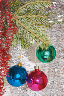 Red, green and blue christmas balls