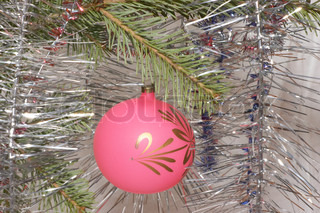 Pink christmas ball with ornament