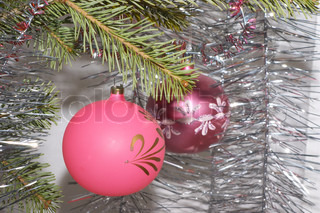 Two christmas balls with ornament