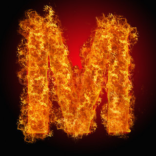 Fire letter M on a black background