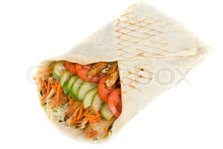 Doner kebab closeup on a white background.