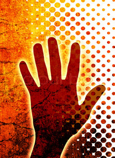 Abstract background with hand silhouette - communication concept