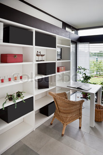 Modern interior of home office wiht chair