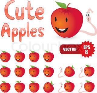Vector set of cartoon apples and worms