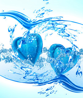 Two hearts from water floating on water