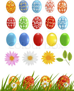 Big collection of different Easter eggs. vector illustration.