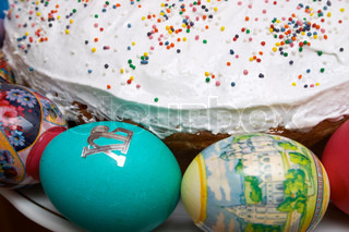 Easter cake and coloured eggs