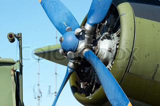 Close-up biplane engine. AN-2 (Antonov), in the airshow. Mochishe aerodrome, Novosibirsk