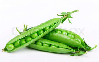 Fresh green pea pod and peas on white background