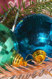 Green and blue christmas ball - close-up