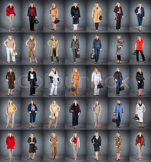 woman at a mature age in different clothes, collection from 35 pieces