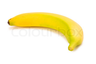 Yellow banana isolated on the white background