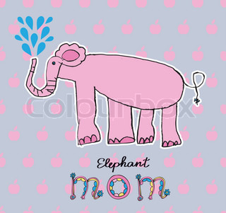 Abstract vector illustration card with elephant (children paint)