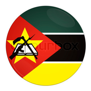 Abstract illustration: button with flag from Mozambique country