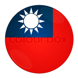 Abstract illustration: button with flag from Taiwan country