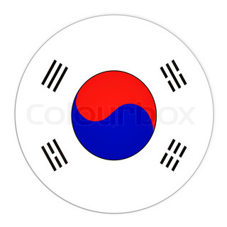 Abstract illustration: button with flag from South Korea country