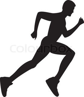 Silhouette of a healthy man running. Vector illustration.
