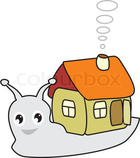 Fairy snail with a small house in cartoon style