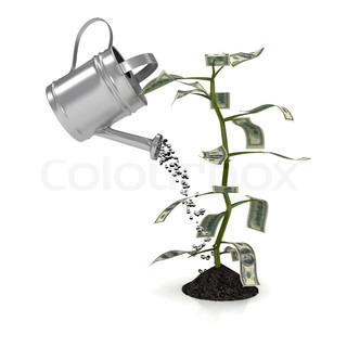 Money plant over white background. computer generated image