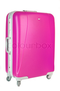 pink suitcase on a white background