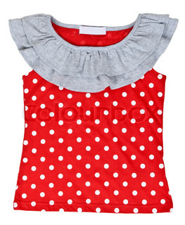 red baby clothes with polka dots on a white background