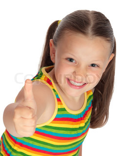 Pretty little girl showing thumb up. Isolated.