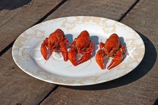 Three red boiled  crawfish on a plate.
