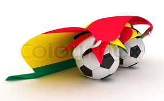 3D cartoon Soccer Ball characters with a Ghana flag.