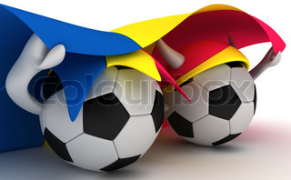 3D cartoon Soccer Ball characters with a Andorra flag.