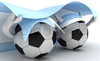 3D cartoon Soccer Ball characters with a Argentina flag.