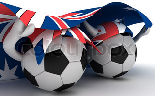 3D cartoon Soccer Ball characters with a Australia flag.