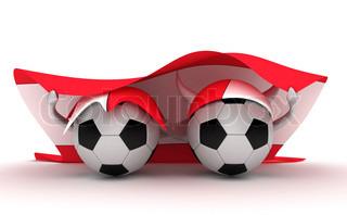 3D cartoon Soccer Ball characters with a Austria flag.