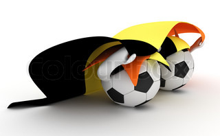 3D cartoon Soccer Ball characters with a Belgium flag.