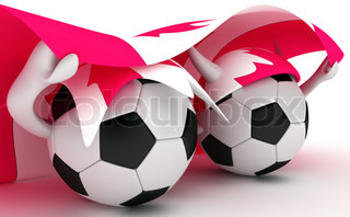 3D cartoon Soccer Ball characters with a Canada flag.