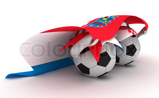 3D cartoon Soccer Ball characters with a Croatia flag.