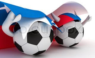 3D cartoon Soccer Ball characters with a Chile flag.