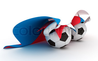 3D cartoon Soccer Ball characters with a Czech Republic flag.