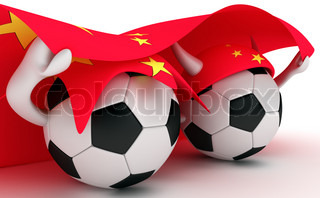3D cartoon Soccer Ball characters with a China flag.