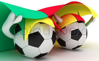 3D cartoon Soccer Ball characters with a Cameroon flag.