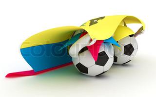 3D cartoon Soccer Ball characters with a Ecuador flag.